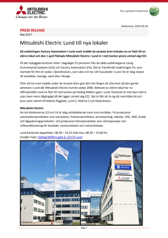 Mitsubishi Electric Lund till nya lokaler