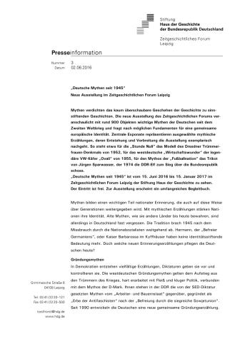 """Presseinformation Ausstellung """"Deutsche Mythen seit 1945"""""""