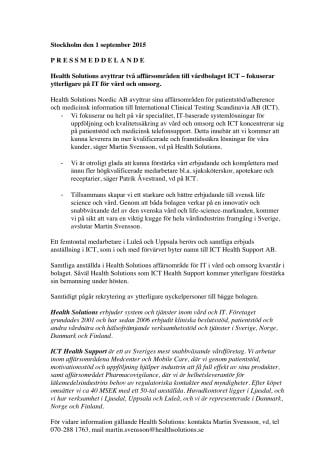 Health Solutions avyttrar två affärsområden