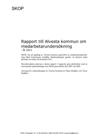 Medarbetarundersökning Alvesta kommun 2011