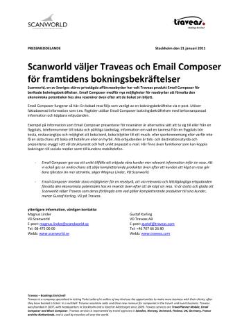 Scanworld väljer Traveas och Email Composer för framtidens bokningsbekräftelser