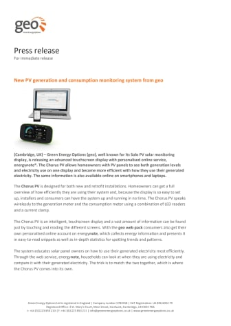 New PV generation and consumption monitoring system from geo
