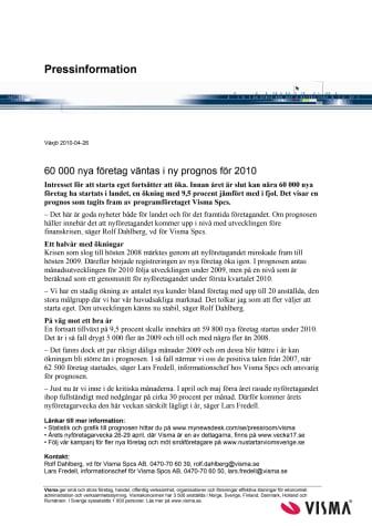 60 000 nya företag väntas i ny prognos för 2010