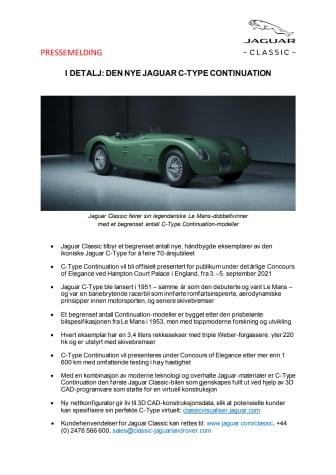 PRESSEMELDING Jaguar Classic bygger et begrenset antall nye C-Type Continuation-modeller