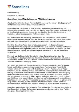 Scandlines begrüßt präzisierende FBQ-Genehmigung