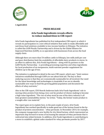 Arla Foods Ingredients reveals efforts to reduce malnutrition in CSR report