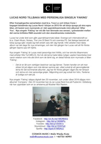 Lucas Nord tillbaka med personliga singeln 'Faking'
