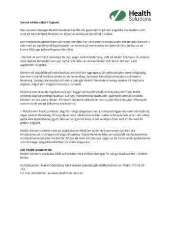 Svensk eHälsa säljer i England