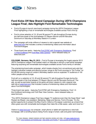 Ford Kicks Off New Brand Campaign During UEFA Champions League Final; Ads Highlight Ford Remarkable Technologies