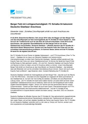 Berger Feld mit Lichtgeschwindigkeit: FC Schalke 04 bekommt Deutsche Glasfaser Anschluss