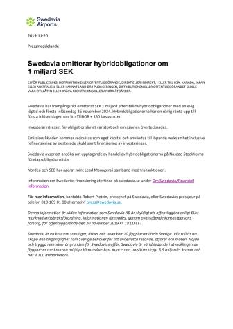 Swedavia emitterar hybridobligationer om 1 miljard SEK