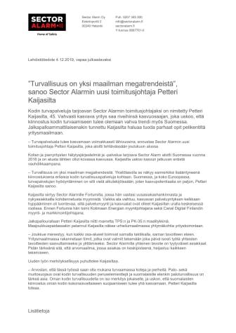 """""""Turvallisuus on yksi maailman megatrendeistä"""", sanoo Sector Alarmin uusi toimitusjohtaja Petteri Kaijasilta"""