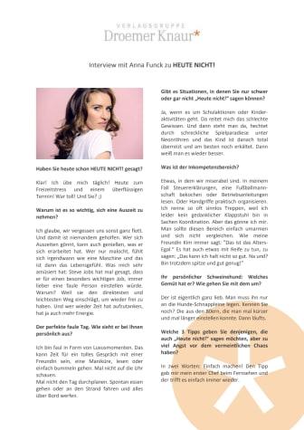 Interview mit Anna Funck zu Heute nicht!