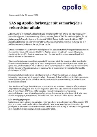 SAS og Apollo forlænger sit samarbejde i rekordstor aftale