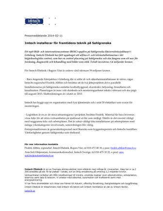 Imtech installerar för framtidens teknik på Sahlgrenska