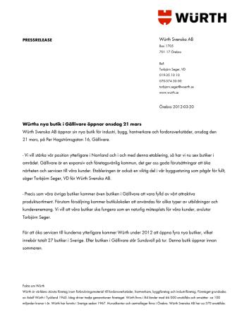 Würths nya butik i Gällivare öppnar onsdag 21 mars