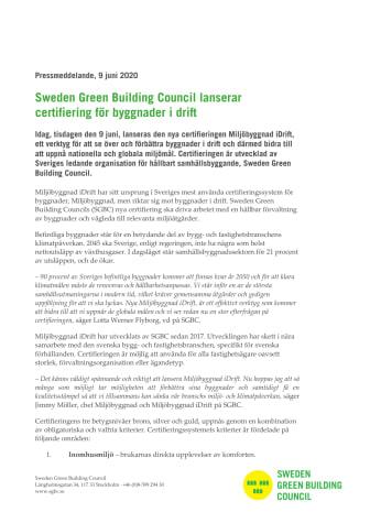 Sweden Green Building Council lanserar certifiering för byggnader i drift