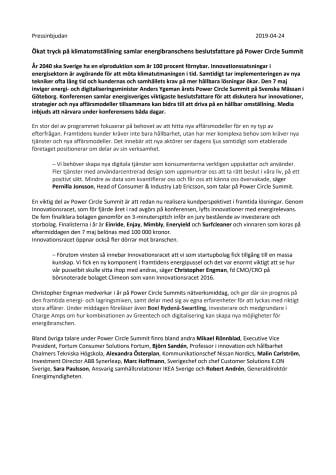 Pressinbjudan: Ökat tryck på klimatomställning samlar energibranschens beslutsfattare på Power Circle Summit