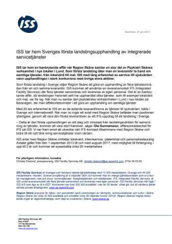 ISS tar hem Sveriges första landstingsupphandling av integrerade servicetjänster