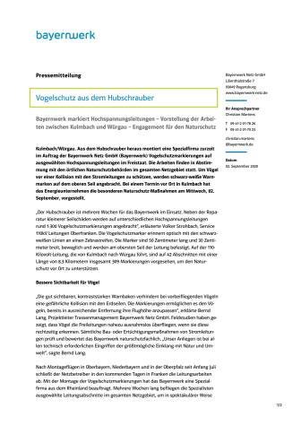 """Pressemitteilung """"Vogelschutz aus dem Hubschrauber"""""""
