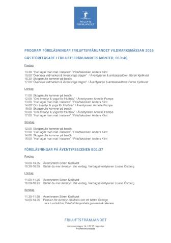 Program föreläsningar Friluftsfrämjandet Vildmarksmässan 2016