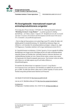 På Sverigebesök: Internationell expert på animalieproduktionens avigsidor