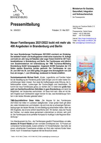 Neuer Familienpass 2021/2022 lockt mit mehr als 400 Angeboten in Brandenburg und Berlin