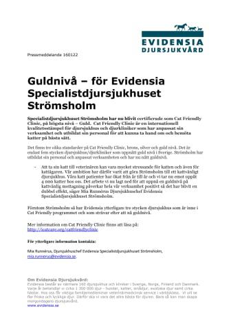 Guldnivå – för Evidensia Specialistdjursjukhuset Strömsholm