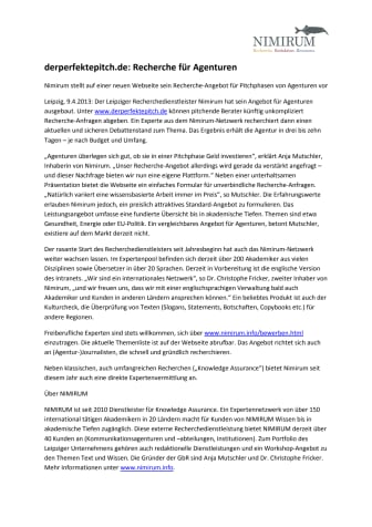 derperfektepitch.de: Recherche für Agenturen