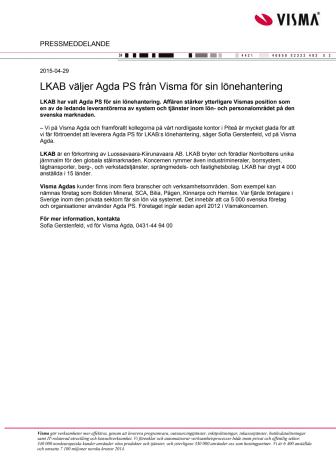 LKAB väljer Agda PS från Visma för sin lönehantering