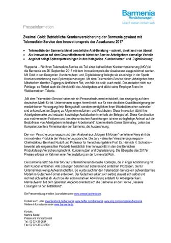 Zweimal Gold: Betriebliche Krankenversicherung der Barmenia gewinnt mit Telemedizin-Service den Innovationspreis der Assekuranz 2017