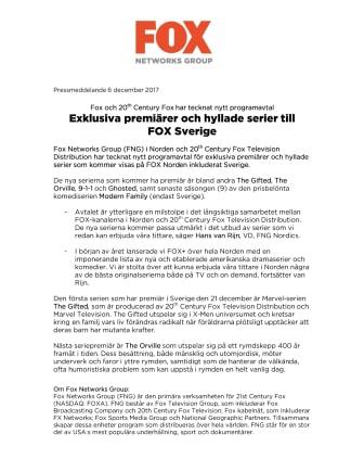 Exklusiva premiärer och hyllade serier till FOX Sverige - Fox och 20th Century Fox har tecknat nytt programavtal