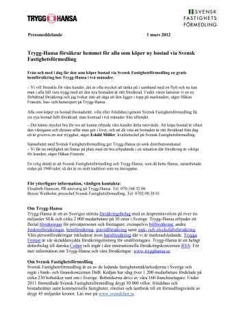 Trygg-Hansa försäkrar hemmet för alla som köper ny bostad via Svensk Fastighetsförmedling