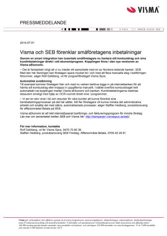Visma och SEB förenklar småföretagens inbetalningar