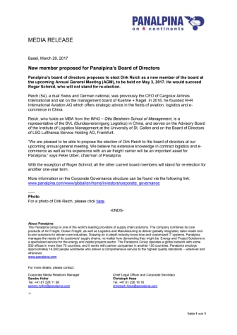 New member proposed for Panalpina's Board of Directors
