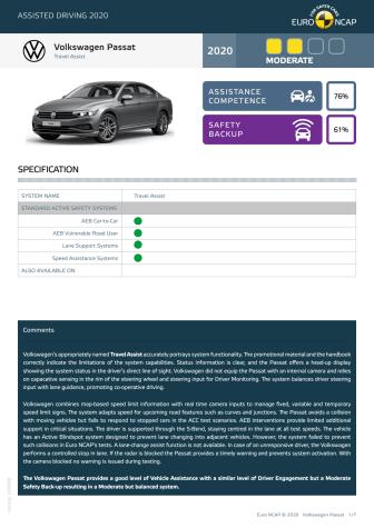 Volkswagen Passat Euro NCAP Assisted Driving Grading datasheet