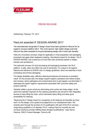 FlexLink awarded iF DESIGN AWARD 2017