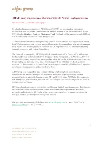 AIFM Group announces collaboration with SIP Nordic Fondkommission.