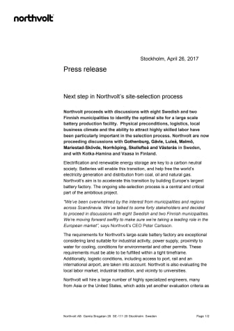Next step in Northvolt's site-selection process