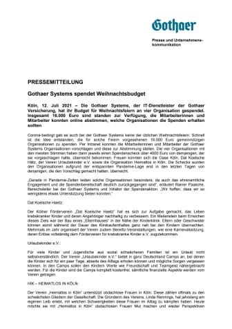 Gothaer Systems spendet Weihnachtsbudget