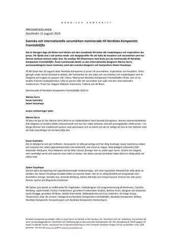 Svenska och internationella varumärken nominerade till Nordiska Kompaniets Framtidslöfte