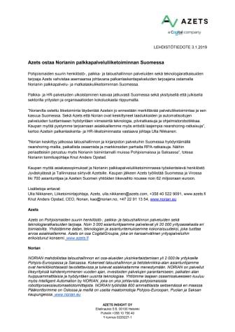 Azets ostaa Norianin palkkapalveluliiketoiminnan Suomessa