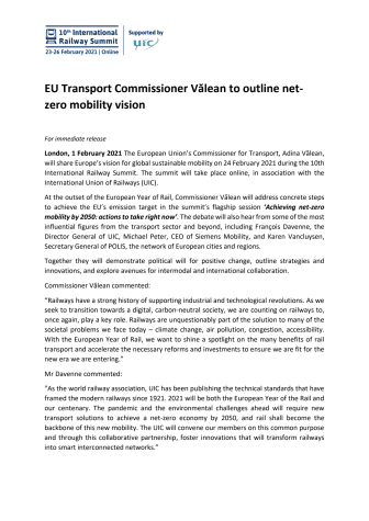 EU Transport Commissioner Vălean to outline net-zero mobility vision