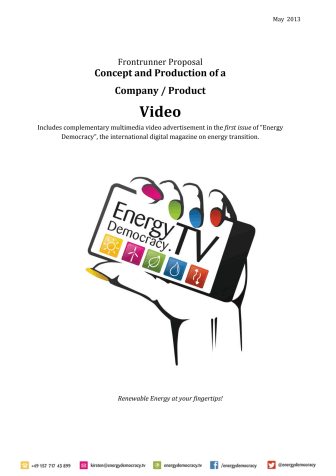 Videostar! Frontrunner Proposal - get your ad in the first issue of Energy Democracy!