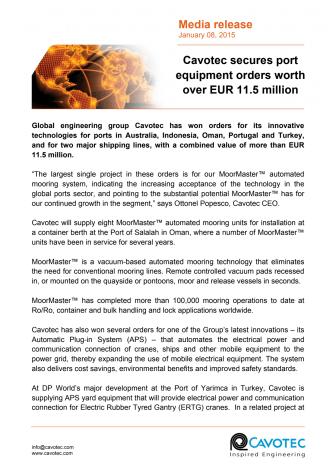 Cavotec secures port equipment orders worth over EUR 11.5 million