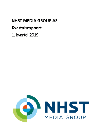 NHST Media Group Kvartalsrapport 1. kvartal 2019