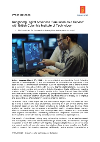 Kongsberg Digital Advances 'Simulation as a Service' with British Columbia Institute of Technology