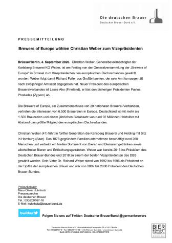Brewers of Europe wählen Christian Weber zum Vizepräsidenten