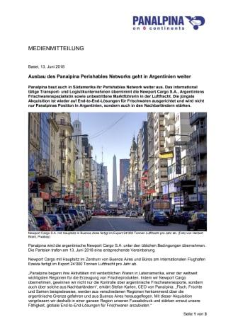 Ausbau des Panalpina Perishables Networks geht in Argentinien weiter