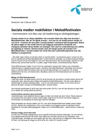 Sociala medier maktfaktor i Melodifestivalen – kommentarer och likes styr vår bedömning av tävlingsbidragen